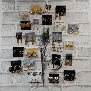 NEW 22 pairs gold tone earrings lot